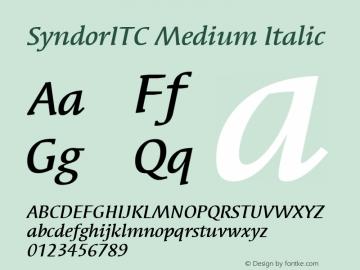 SyndorITC Medium Italic Version 001.000 Font Sample
