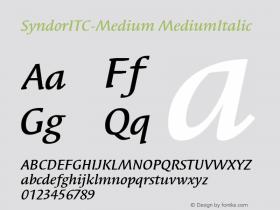 SyndorITC-Medium MediumItalic Version 1.00 Font Sample