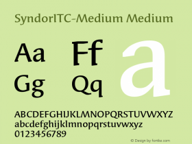 SyndorITC-Medium Medium Version 1.00 Font Sample
