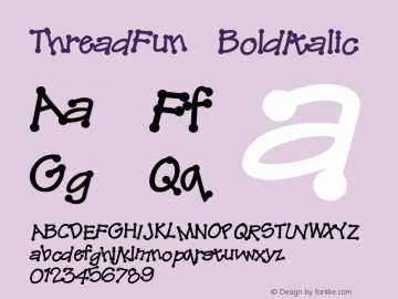 ThreadFun BoldItalic Altsys Fontographer 4.0.2 10/29/93 Font Sample