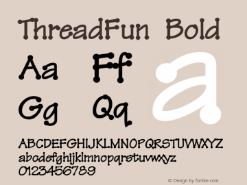 ThreadFun Bold Altsys Fontographer 4.0.2 10/29/93 Font Sample