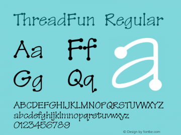 ThreadFun Regular Altsys Fontographer 4.0.2 10/29/93 Font Sample