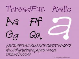 ThreadFun Italic Altsys Fontographer 4.0.2 10/29/93 Font Sample