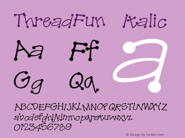 ThreadFun Italic Altsys Fontographer 4.0.2 10/29/93 Font Sample
