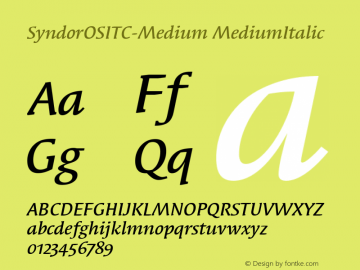 SyndorOSITC-Medium MediumItalic Version 1.00 Font Sample