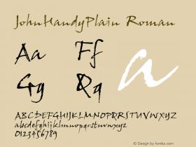 JohnHandyPlain Roman Version 1.00 Font Sample