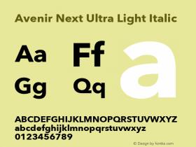 Avenir Next Ultra Light Italic 13.0d1e10图片样张