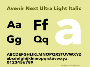 Avenir Next Ultra Light Italic 13.0d1e10图片样张