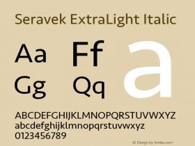Seravek ExtraLight Italic 13.0d3e2图片样张