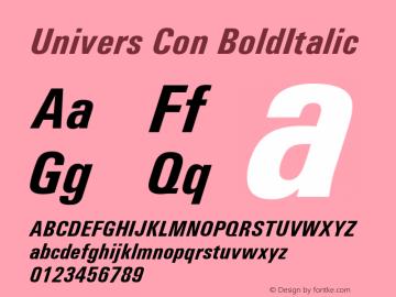 UniversConBoldItalic Version 1.00 Font Sample
