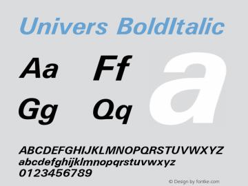 UniversBoldItalic Macromedia Fontographer 4.1.5 2/26/03 Font Sample