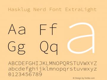 Hasklug ExtraLight Nerd Font Complete Version 2.010;PS 1.0;hotconv 1.0.88;makeotf.lib2.5.647800 Font Sample