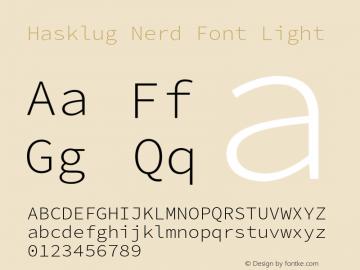 Hasklug Light Nerd Font Complete Version 2.010;PS 1.0;hotconv 1.0.88;makeotf.lib2.5.647800 Font Sample