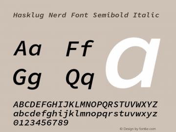 Hasklug Semibold Italic Nerd Font Complete Version 1.030;PS 1.0;hotconv 1.0.88;makeotf.lib2.5.647800 Font Sample