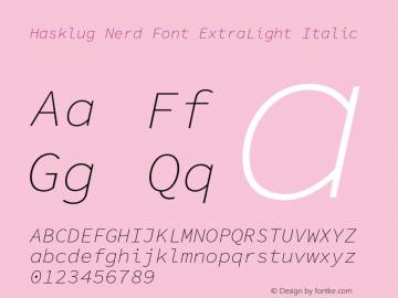 Hasklug ExtraLight Italic Nerd Font Complete Version 1.030;PS 1.0;hotconv 1.0.88;makeotf.lib2.5.647800 Font Sample
