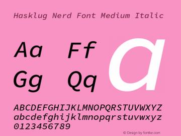 Hasklug Medium Italic Nerd Font Complete Version 1.030;PS 1.0;hotconv 1.0.88;makeotf.lib2.5.647800 Font Sample