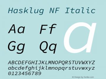 Hasklug Italic Nerd Font Complete Windows Compatible Version 1.030;PS 1.0;hotconv 1.0.88;makeotf.lib2.5.647800 Font Sample