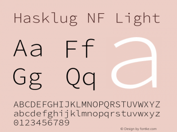Hasklug Light Nerd Font Complete Windows Compatible Version 2.010;PS 1.0;hotconv 1.0.88;makeotf.lib2.5.647800 Font Sample