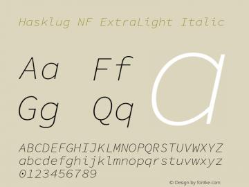 Hasklug ExtraLight Italic Nerd Font Complete Windows Compatible Version 1.030;PS 1.0;hotconv 1.0.88;makeotf.lib2.5.647800 Font Sample