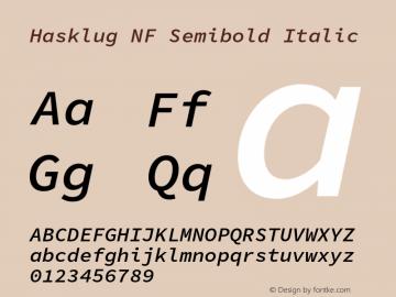 Hasklug Semibold Italic Nerd Font Complete Windows Compatible Version 1.030;PS 1.0;hotconv 1.0.88;makeotf.lib2.5.647800 Font Sample