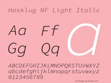 Hasklug Light Italic Nerd Font Complete Mono Windows Compatible Version 1.030;PS 1.0;hotconv 1.0.88;makeotf.lib2.5.647800 Font Sample