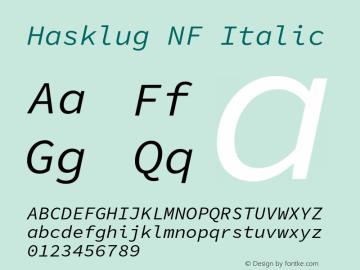 Hasklug Italic Nerd Font Complete Mono Windows Compatible Version 1.030;PS 1.0;hotconv 1.0.88;makeotf.lib2.5.647800 Font Sample