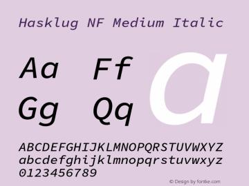 Hasklug Medium Italic Nerd Font Complete Mono Windows Compatible Version 1.030;PS 1.0;hotconv 1.0.88;makeotf.lib2.5.647800 Font Sample