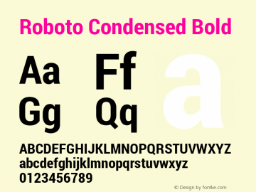 Roboto Condensed Bold Version 1.100141; 2013 Font Sample