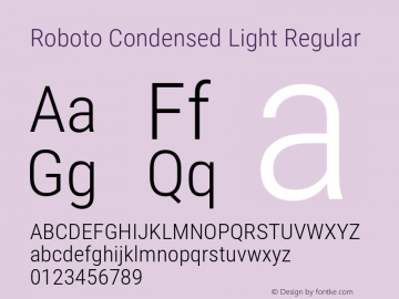 Roboto Condensed Light Version 2.137; 2017图片样张