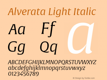 AlverataLt-Italic Version 1.001图片样张