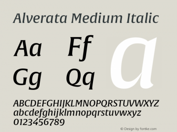 AlverataMd-Italic Version 1.001图片样张
