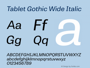 TabletGothicWide-Oblique 1.000图片样张