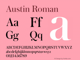 Austin-Roman Version 1.000;PS 001.000;hotconv 1.0.50;makeotf.lib2.0.16970图片样张