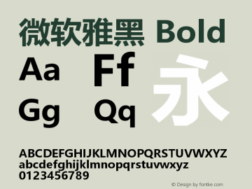微软雅黑 Bold Version 6.25图片样张
