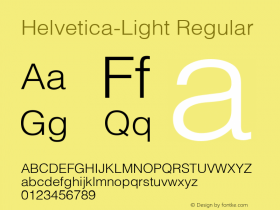 Helvetica-Light Converted from c:\win31\system\HVL_____.TF1 by ALLTYPE图片样张