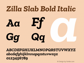 Zilla Slab Bold Italic Version 1.1; 2017图片样张