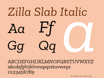 Zilla Slab Italic Version 1.1; 2017; ttfautohint (v1.6)图片样张