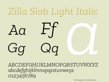 Zilla Slab Light Italic Version 1.1; 2017; ttfautohint (v1.6)图片样张