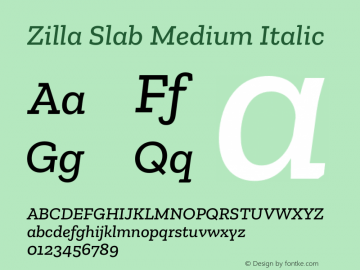 Zilla Slab Medium Italic Version 1.1; 2017图片样张