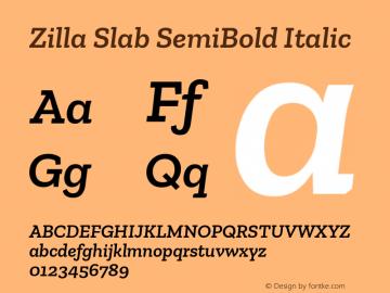 Zilla Slab SemiBold Italic Version 1.1; 2017; ttfautohint (v1.6)图片样张