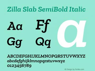 Zilla Slab SemiBold Italic Version 1.1; 2017图片样张