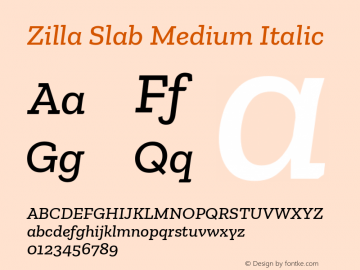 Zilla Slab Medium Italic Version 1.1; 2017; ttfautohint (v1.6)图片样张