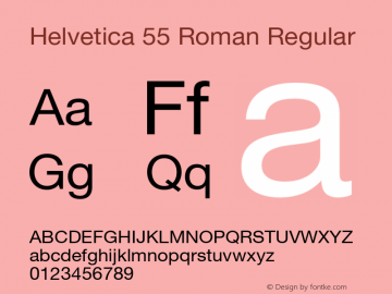 Helvetica 55 Roman Regular OTF 1.0;PS 001.102;Core 1.0.22 Font Sample