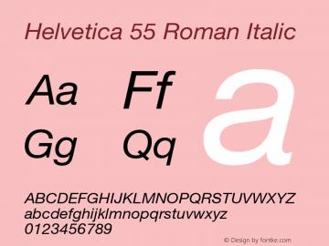 Helvetica 55 Roman Italic OTF 1.0;PS 001.102;Core 1.0.22 Font Sample