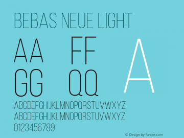 Bebas Neue Light Regular Version 001.003图片样张