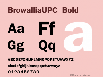BrowalliaUPC Bold Version 1.000 2006 initial release图片样张