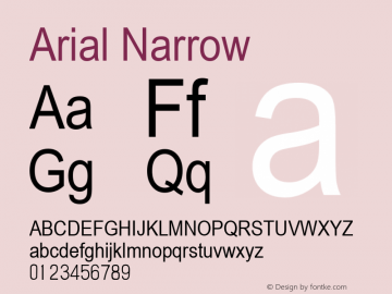 Arial Narrow000 Version 2.37 July 30, 2014图片样张