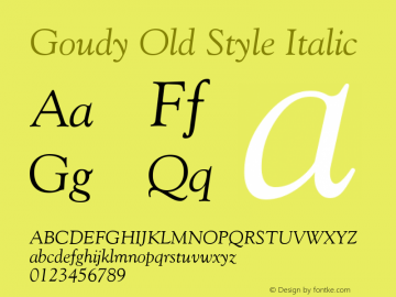 Goudy Old Style Italic Version 1.3 (ElseWare)图片样张