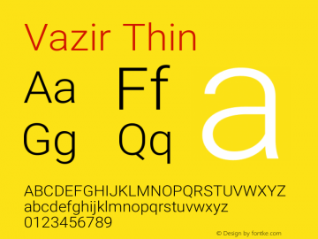 Vazir Thin Version 15.0.0图片样张