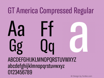 GT America Compressed Regular Version 5.001;PS 005.001;hotconv 1.0.88;makeotf.lib2.5.64775图片样张